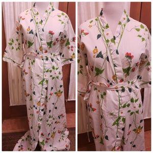 Vintage cotton robe, strawberries flowers